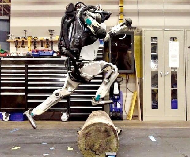 < 외국은 펄펄 뛰고 있는데… > 세계 최고 성능 휴머노이드(인간형 로봇) '아틀라스'가 장애물 뛰어넘기 종합훈련(파쿠르)을 하고 있다.  /보스턴다이내믹스  제공
