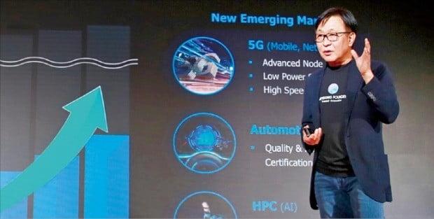 정은승 삼성전자 파운드리사업부장(사장)이 14일(현지시간) 미국 샌타클래라에서 열린 '삼성 파운드리 포럼 2019'에서 차세대 반도체 전략을 설명하고 있다.  /삼성전자 제공
