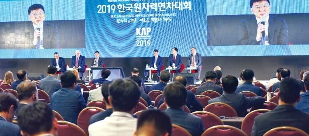 제주 국제컨벤션센터에서 22일 열린 '2019 한국원자력연차대회'에서 참석자들이 '원자력 60년, 새로운 역할'을 주제로 토론하고 있다.  /한국원자력산업회의  제공