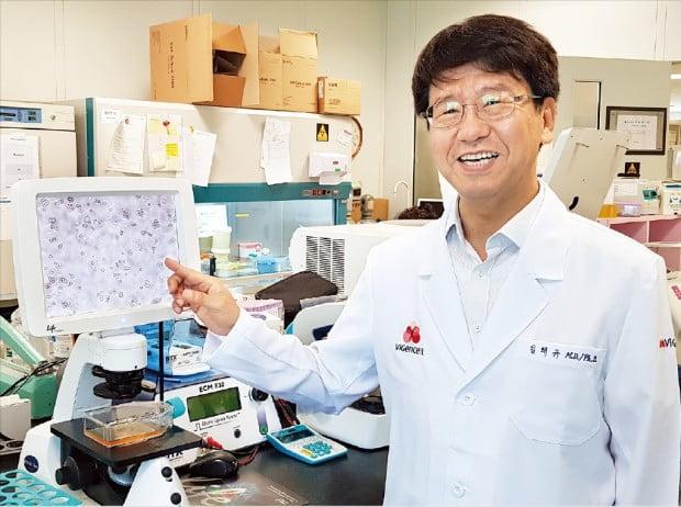 김태규 바이젠셀 대표가 서울 반포동 가톨릭대 성의회관 내 본사에서 면역세포 치료제에 대해 설명하고 있다. 박상익 기자
