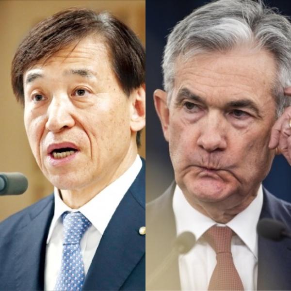 이주열 한국은행 총재(왼쪽)와 제롬 파월 미국 중앙은행(Fed) 의장. /사진=한국은행·연합뉴스 제공