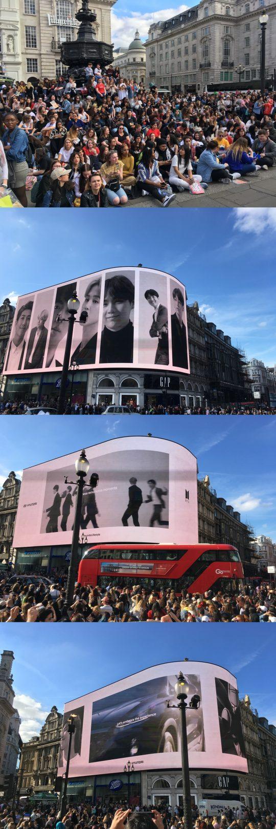 현대자동차가 마련한 그룹 방탄소년단의 영국 런던 피카딜리 광장 옥외 광고 화면, 전 세계에서 모인 아미(ARMY). / 런던=김하진 기자