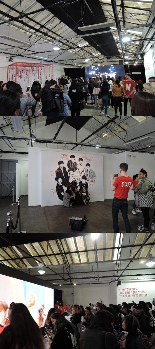 영국 런던 지하철 리버풀(Liverpool) 스트리트 역 인근에서 펼쳐진 그룹 방탄소년단의 팝업스토어(BTS WORLD TOUR POP-UP STORE). / 런던=김하진 기자