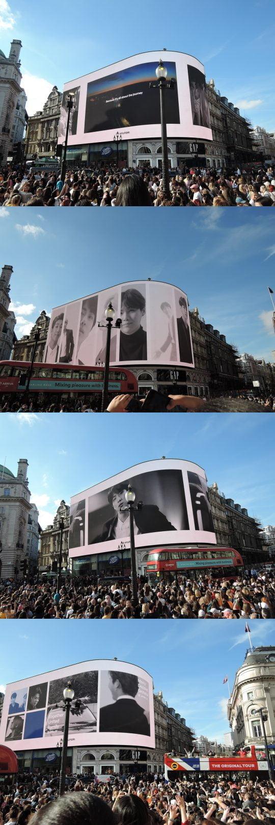 런던 피카딜리 광장의 대형 전광판에 그룹 방탄소년단의 영상이 나오고 있다. 현대자동차가 마련한  BTS 응원 캠페인. 전 세계에서 모인 아미(ARMY)들이 영상을 보고 있다. / 런던=김하진 기자