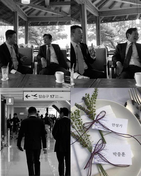 주진모 결혼식에 참석한 박중훈, 안성기. /사진=박중훈 인스타그램