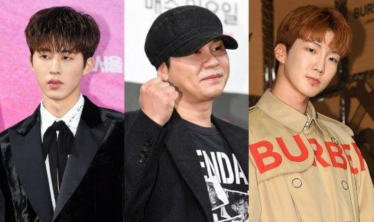 아이콘의 전 멤버 비아이(왼쪽부터), 양현석 전 YG 대표이사, 위너의 이승훈 /텐아시아DB