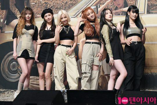 그룹 (여자)아이들의 수진(왼쪽부터), 미연, 소연, 우기, 슈화, 민니. / 이승현 기자 lsh87@