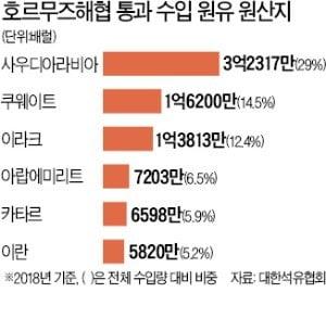 """""""국내 수입 원유의 70% 통과…봉쇄 땐 대책 없다"""""""