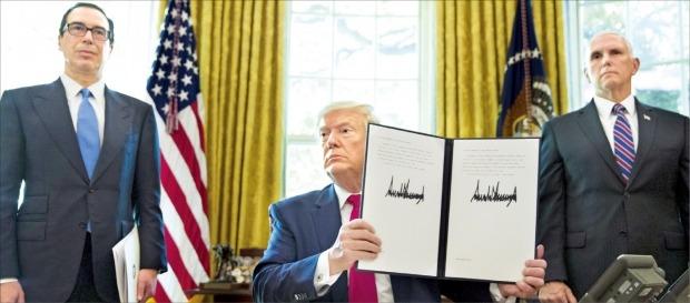 < 트럼프, 이란 최고지도자 제재 행정명령 > 도널드 트럼프 미국 대통령(가운데)이 24일(현지시간) 백악관 집무실에서 아야톨라 알리 하메네이 이란 최고지도자를 제재하는 행정명령에 서명했다. 제재안에는 하메네이와 측근들이 미국 내 핵심 금융자산에 접근하는 것을 차단하는 내용 등이 담겼다. 트럼프 대통령이 스티븐 므누신 재무장관(왼쪽)과 마이크 펜스 부통령이 함께한 자리에서 행정명령서를 들어보이고 있다.   /EPA연합뉴스