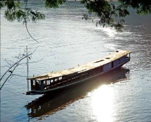 해질녘 메콩강의 아름다운 풍경