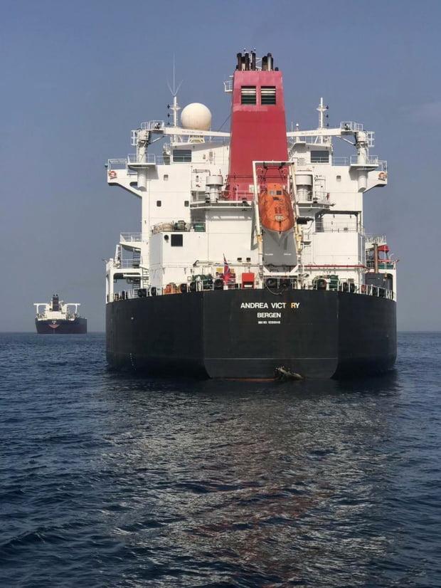 지난달 12일(현지시간) UAE 영해에서 피습당해 구멍이 난 노르웨이 국적 유조선의 모습. AP연합뉴스