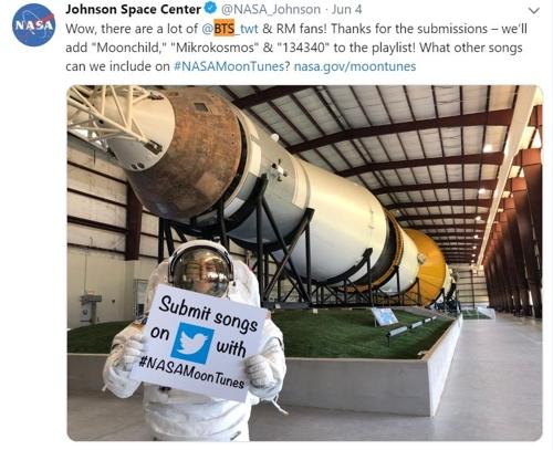방탄소년단 노래, 美 NASA 달 탐사선서 듣는다
