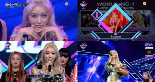 '엠카운트다운'에서 1위를 차지한 가수 청하 / 사진=Mnet 방송화면