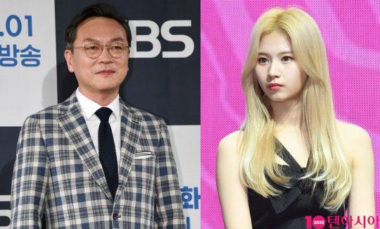 배우 김의성-그룹 트와이스 멤버 사나./ 사진=텐아시아DB