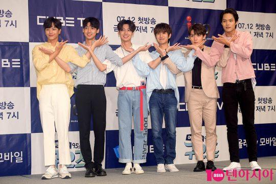 가수 육성재(왼쪽부터), 조영민, 조광민, 노민우, 리키, 모델 백경도