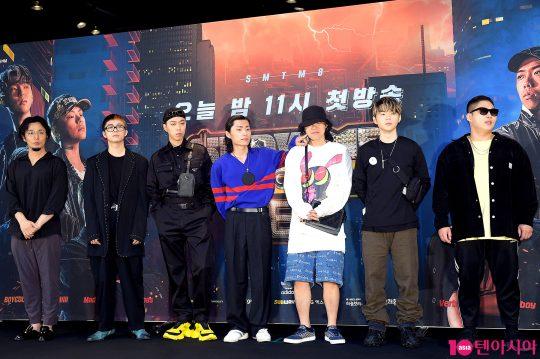 가수 버벌진트(왼쪽부터), 기리보이, 비와이, 밀릭, 키드밀리, 보이콜드, 스윙스