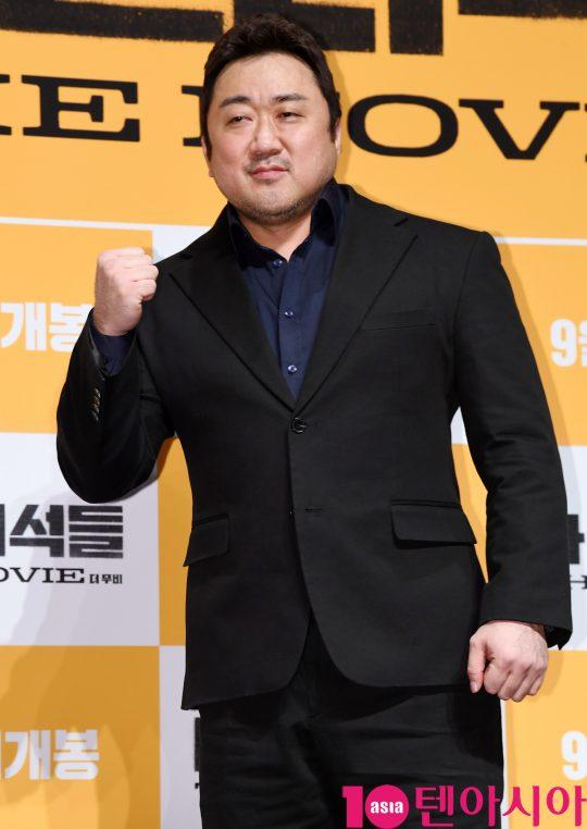 배우 마동석이 29일 오전 서울 신사동 압구정 CGV에서 열린 영화 '나쁜 녀석들:더 무비' 제작보고회에 참석하고 있다.