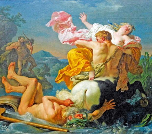 '데이아네이라를 납치하는 켄타우로스 네수스', 루이 장 프랑수아 라그레네(1724~1805) 작, 유화, 1755년, 157×185㎝, 루브르박물관.