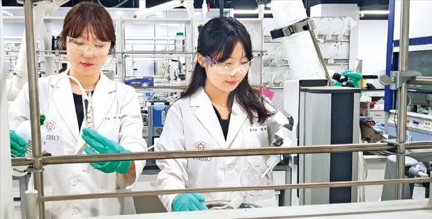 바이오마커 기반 항암제 개발업체인 웰마커바이오 연구원들이 서울 문정동 본사 연구실에서 신약 실험을 하고 있다. 이 회사는 최근 벤처캐피털로부터 180억원 규모의 투자를 유치했다.  /웰마커바이오 제공