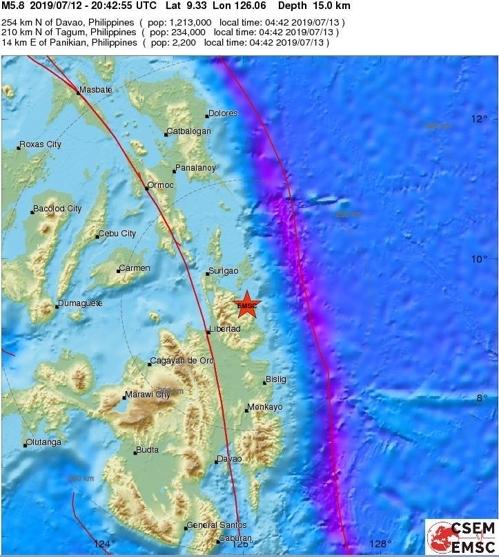 필리핀 민다나오섬 북부 규모 5.8 지진…`불의 고리` 또