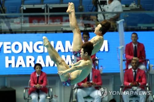 -광주세계수영- 아쉬운 4차시기…우하람·김영남, 3m 싱크로 10위
