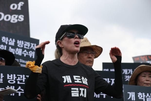 개고기 반대집회 참석한 킴 베이싱어 /사진=연합뉴스