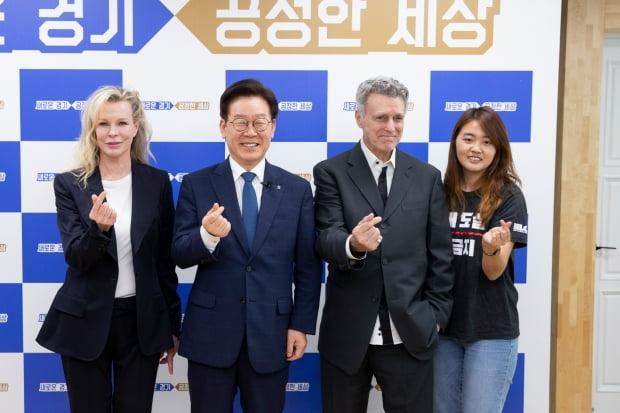킴 베이싱어와 이재명 경기지사 /사진=연합뉴스