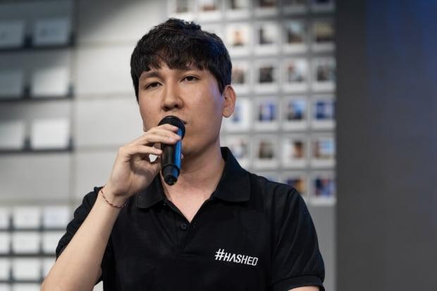 7일 김서준 해시드 대표가 '블록체인 즉문즉답 토크쇼'에서 발표하고 있다.(사진=해시드)