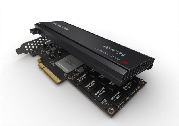 삼성전자가 PCIe 4.0 인터페이스 기반의 고성능 NVMe SSD 'PM1733' 라인업과 고용량 D램 모듈 RDIMM, LRDIMM을 본격 양산했다.