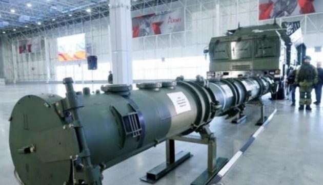 지난 1월 23일 모스크바 엑스포 센터에 전시된 '9M729'(나토명 SSC-8) 순항 미사일 부품[로이터=연합뉴스 자료사진]