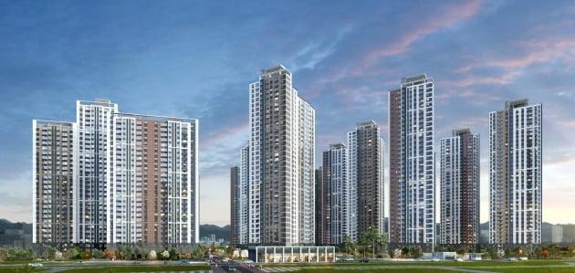 오는 23일 모델하우스를 여는 '의정부역 센트럴자이&위브캐슬' 투시도. 의정부 중앙생호라권2구역을 재개발해 2473가구로 짓는 단지다. GS건설 제공