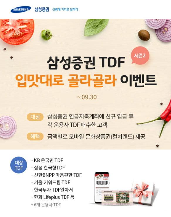 TDF 맛집 삼성증권, '입맛대로 골라골라' 이벤트 실시