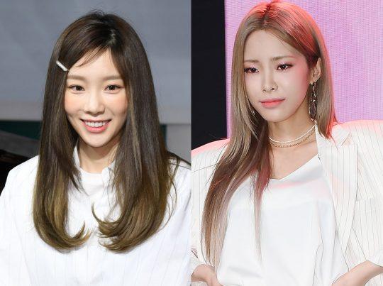 그룹 소녀시대 태연(왼쪽)와 가수 헤이즈. / 사진=텐아시아DB