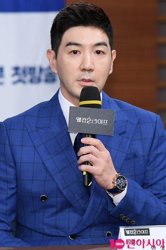 배우 한상진이 5일 오후 서울 상암동 MBC 골든마우스홀에서 열린 MBC 드라마 '웰컴2라이프' 제작발표회에 참석해 인사말을 하고 있다.