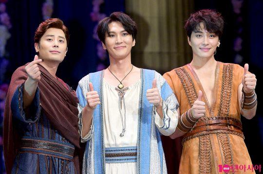 뮤지컬 '벤허'에 출연하는 배우 한지상(왼쪽부터), 박은태, 민우혁. / 서예진 기자 yejin@