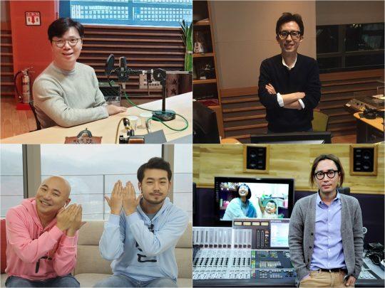 '배철수의 음악캠프' 스페셜 DJ를 맡은 김영하 작가(왼쪽 위부터 차례로), 가수 유희열, 주호민·이말년 웹툰 작가, 가수 정재형. /사진제공=MBC