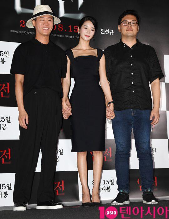 진선규(왼쪽부터), 서예지,김진원 감독이 8일 오후 서울 CGV 용산아이파크몰에서 열린 영화 '암전' 언론시사회에 참석했다./ 조준원 기자 wizard333@