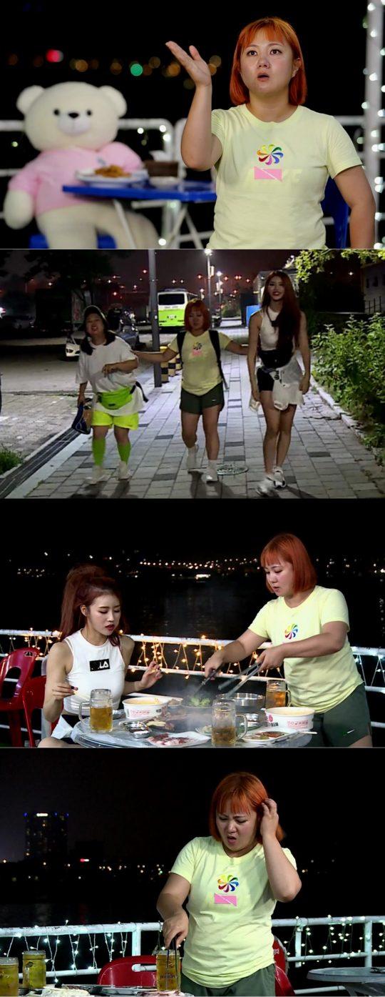 운동 후 식사를 즐기는 '나 혼자 산다' 박나래, 홍현희, 러블리즈 미주. /사진제공=MBC