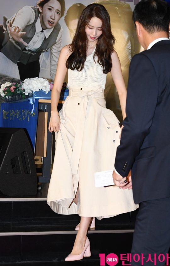 배우 임윤아가 14일 오후 서울 송파구 롯데시네마 월드타워에서 열린 영화 '엑시트' 땡큐 쇼케이스에 참석하고 있다.