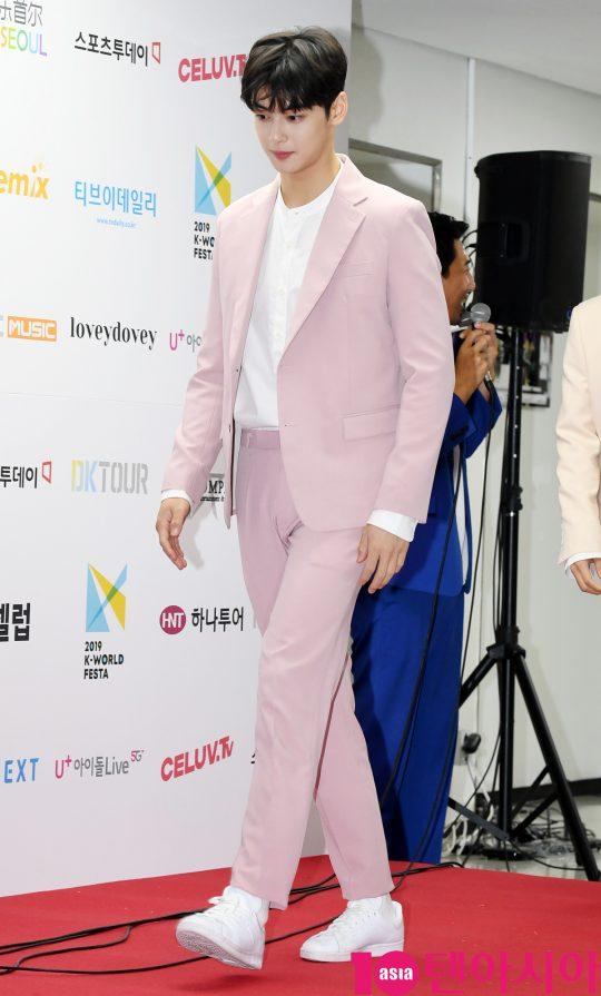 아스트로 차은우가 15일 오후 서울 방이동 올림픽공원 체조경기장에서 열린 2019 케이월드 페스타 레드카펫 행사에 참석하고 있다.