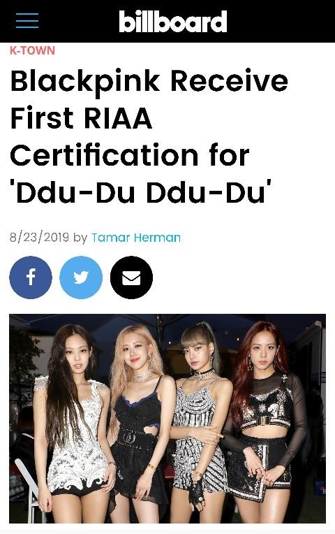 미국 레코드산업협회(RIAA)의 골드 인증을 받은 블랙핑크. /사진제공=YG엔터테인먼트