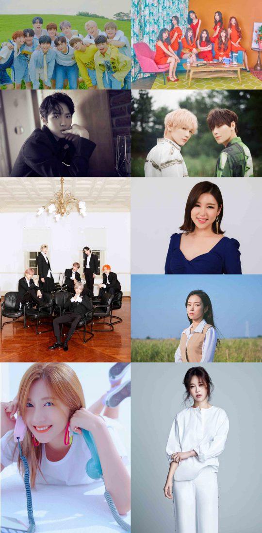 SBS MTV '더쇼'에 출연하는 가수 엑스원(맨 위 왼쪽부터 시계 방향으로), 러블리즈, JBJ95, 송가인, 홍자, 백지영, 오하영, NCT DREAM, 김재환. /사진제공=SBS