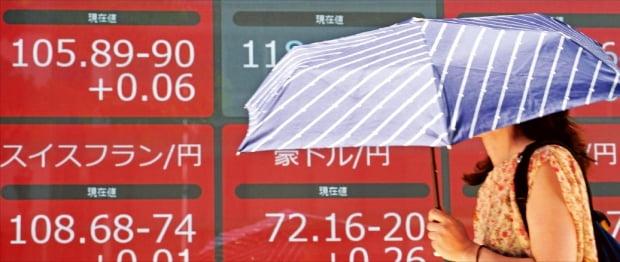 세계경제 둔화 및 미·중 무역전쟁 여파로 엔화 가치가 상승하고 있다. 이로 인해 수출이 줄면서 아베노믹스가 흔들리고 있다. 지난 9일 한 여성이 우산을 쓴 채 도쿄의 외환시세 전광판 앞을 지나고 있다.  AP연합뉴스