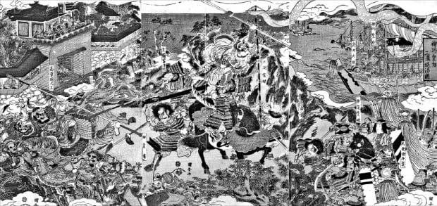 일본 진구왕후가 신라를 공격하는 모습을 그린 19세기 그림. 왼편 성문에 '고려국 대왕'이라고 쓰여 있고, 오른쪽 위의 그림 제목은 '三韓'을 '三漢'으로 틀리게 썼다.  삼인 제공