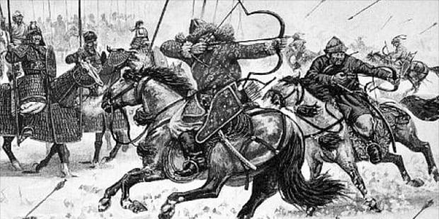 몽골군이 적을 제압한 경쟁력인 기마사술(騎馬射術). 말을 달리며 활을 쏘는 기술이다.