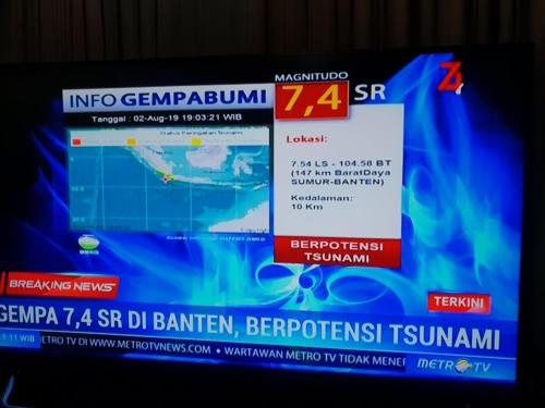 인도네시아 수마트라 남서 해상 6.8 강진…쓰나미 경보