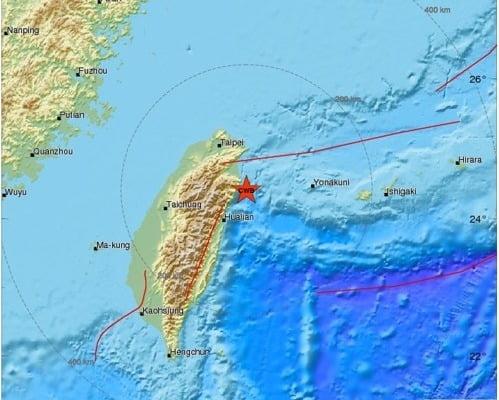 대만 지진 발생 위치. 사진=연합뉴스