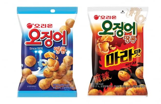 오리온 오징어땅콩 기본맛과 마라맛. (사진 = 오리온)