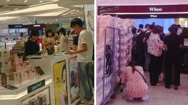 17~18일 서울 중구 롯데면세점(왼쪽)과 신세계 면세점. 면세점 내부는 중국 관광객들로 북적였다. (사진 = 신은동 인턴기자)