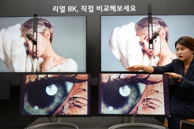 지난 17일 서울 여의도 LG트윈타워에서 열린 LG전자 디스플레이 기술설명회에서 LG전자 직원이 8K TV 제품들의 해상도 차이를 설명하고 있다. /LG전자 제공